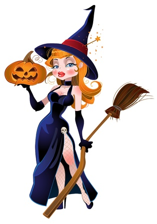 beautiful witch and pumpkin Vector