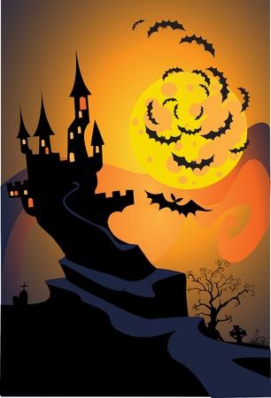 halloween bat: Halloween terrible castle