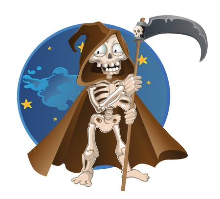 starving: fun cartoon death on a night sky background