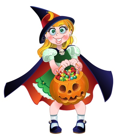 Girl hold in her hands pumpkin with a candy Stock Vector - 15340124