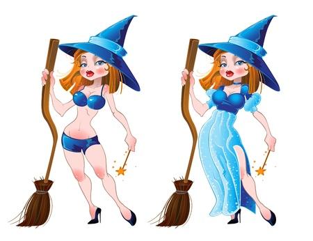 sexy strega con la scopa e il vestito blu