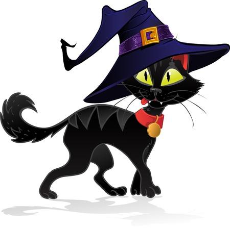 dreadful: Black terrible witch Halloween cat