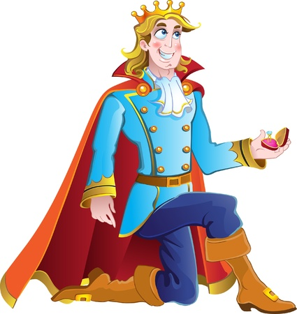 prince charming ask prinses hand in het huwelijk Stock Illustratie