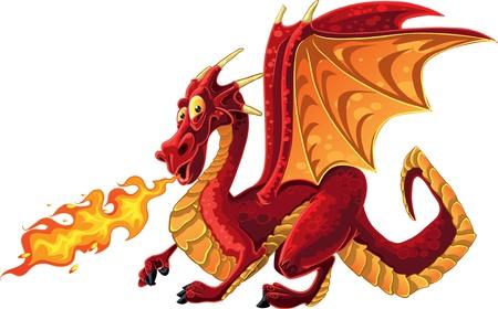 멋진 마법의 빨간 불 침 용