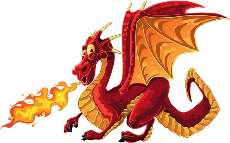 Fabulous magical red fire-spitting dragon Illustration