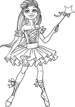 Cute dancing ballerina Fairy black outline for coloring Vector