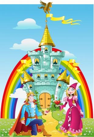 chiesto: Handsome principe ha chiesto la mano della principessa vicino a Magic Castle