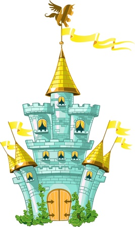 pink hills: magical fairytale blue castle with  flags and green plants Illustration