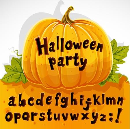 Halloween party cut out pumpkin lowercase alphabet Stock Vector - 15340129