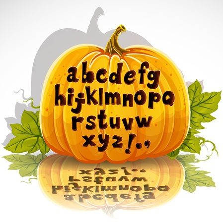 Happy Halloween cut out pumpkin small letters alphabet. Vector