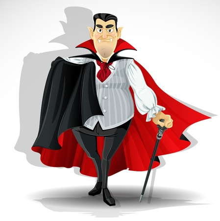 vampire cartoon: Skilled old vampire in cape and with walking stick