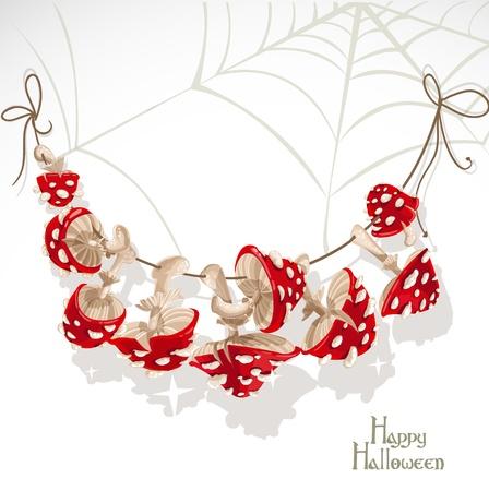 champignon magique: Joyeux Halloween banni�re avec une guirlande de champignons Amanita et toiles d'araign�e