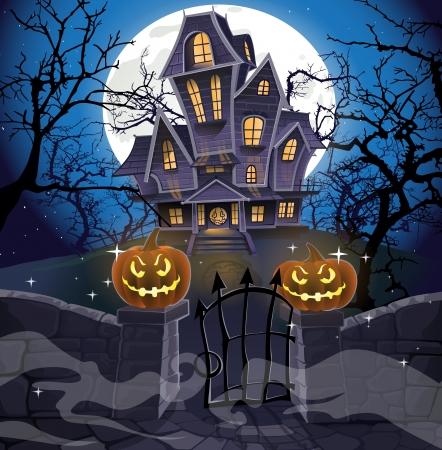 brujas caricatura: Happy Halloween acogedora casa embrujada detrás de un muro de piedra