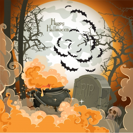 october 31: Happy Halloween Night of 31 October - pot of potion on the full moon in the cemetery