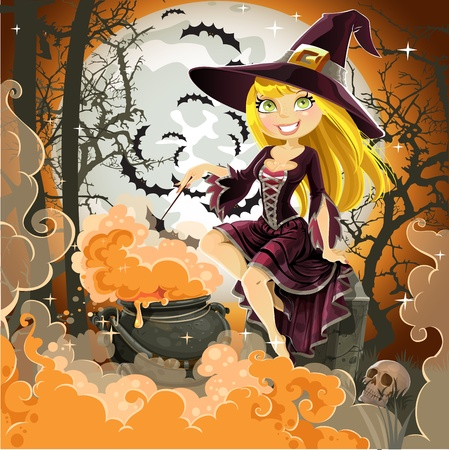 Witch with potion in the pot sits in the cemetery on Halloween night. Vector Illustration