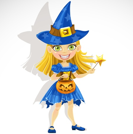cute little girl dressed as a witch Trick or Treat Illustration