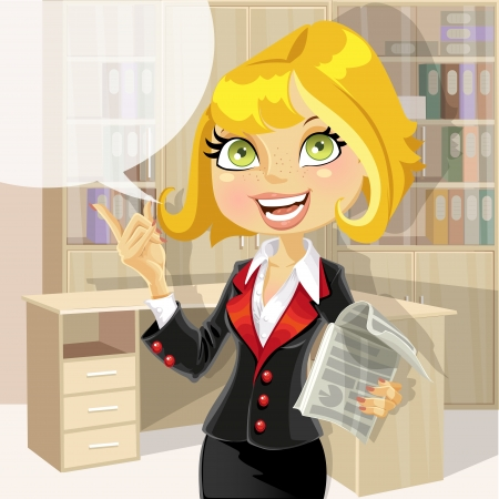 green office: Cute business woman in office with speech bubble Illustration