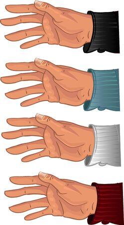 Male hands in color shirt Illustration