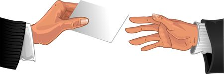 dime: Male hand pass white glossy business card to other male hand Illustration