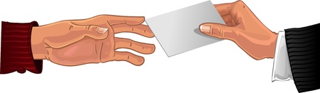 Male hand pass white business card to other male hand Vector