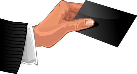 dime: Male hand with black business card