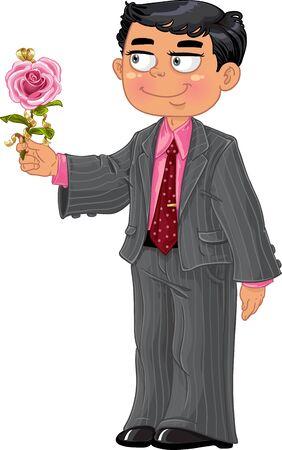 man s: Men in suit make a present pink rose Illustration