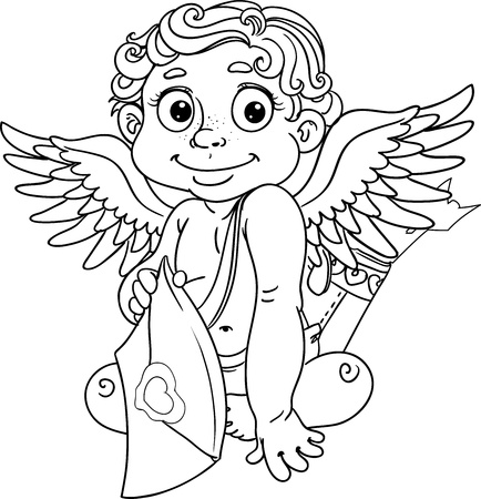 Cupid with love letter and arrows black outline for coloring Vector