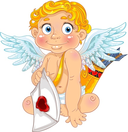 Cupid with love letter and arrows Illustration