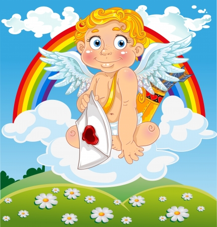 Cupid with love letter on cloud over field and with rainbow Vector