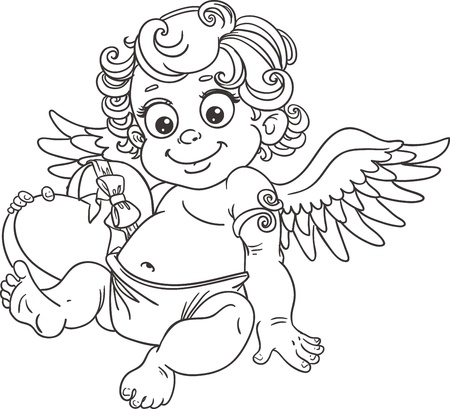 valentine cherub: Fun cupid with box of candy black outline for coloring Illustration