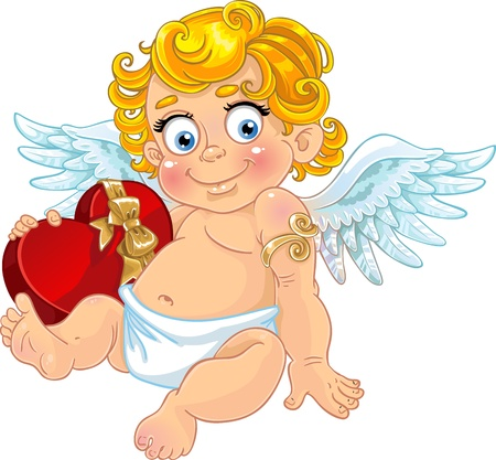 Fun cupid with box of candy  Vector