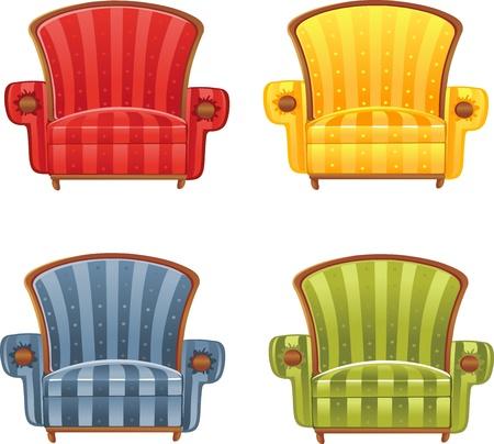 high chair: Color brillante butaca Vectores