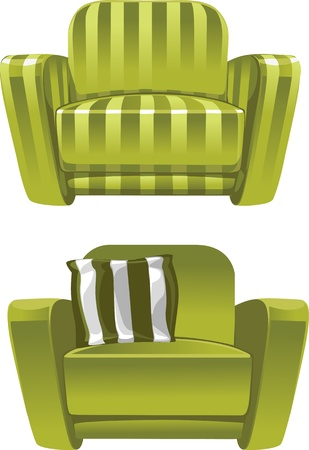 Green soft stripped armchair