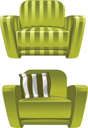easy chair: Green soft stripped armchair