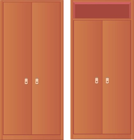 light-coloured wardrobe and wardrobe with upper berth Vector