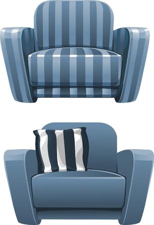 Blauwe zachte fauteuil ontdaan Vector Illustratie