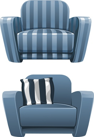 easy chair: Blue soft stripped armchair