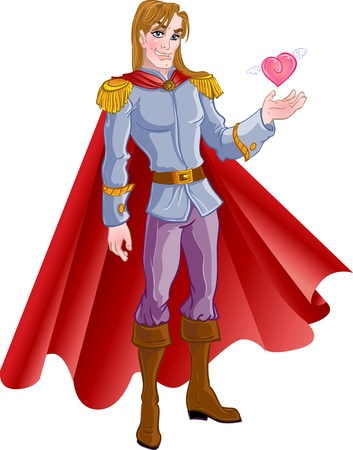 prince charming: charming blond prince with pink heart Illustration
