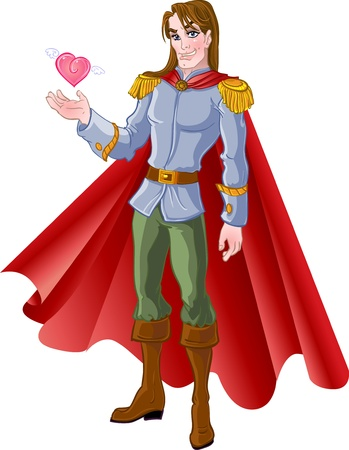 a charming: charming brown-haired prince with pink heart Illustration