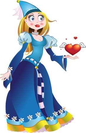 charming princess in blue dress geave a heart and love and hand Stock Vector - 15660651