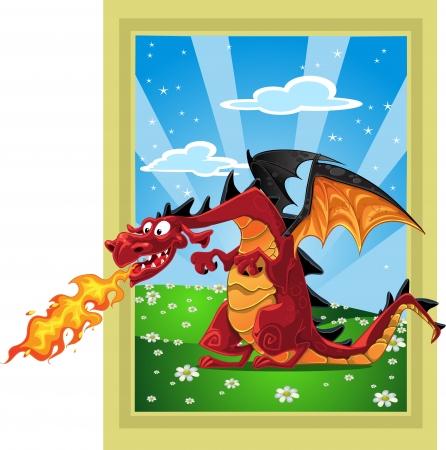 Dragon on the fairytale landscape Stock Vector - 15660667
