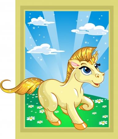 spell: fabulous unicorn on the fairytale landscape