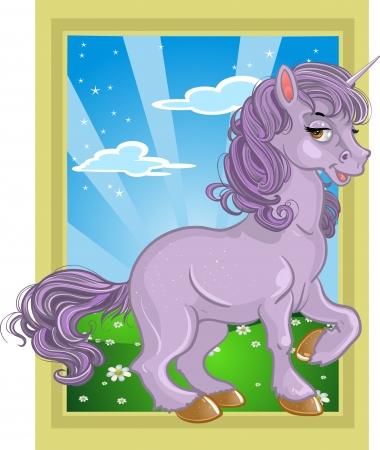 baby corn: fabulous violet unicorn on the fairytale landscape