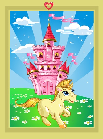 family history: Fairytale landscape with pink magic castle and unicorn Illustration