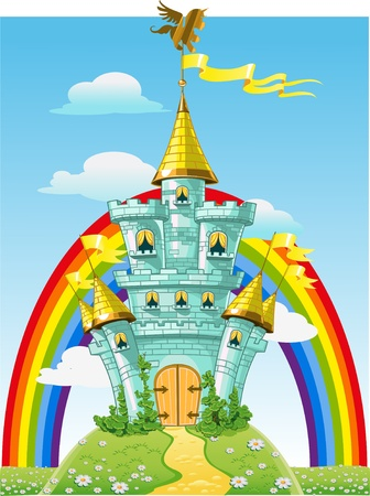 fairytale castle: magical fairytale blue castle with flags and rainbow