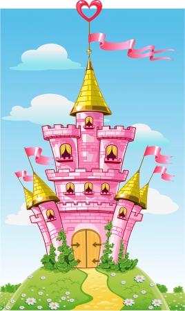 castle wall: Magical fairytale pink castle with flags Illustration