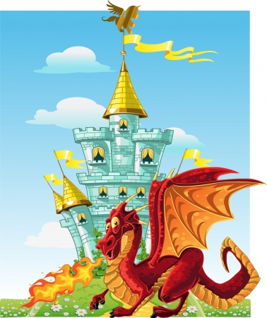 magical fairytale red Dragon near the blue magic castle Vector