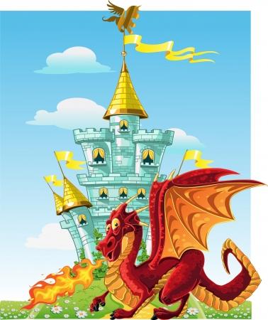 dragon rouge: magique de conte de f�es dragon rouge pr�s du ch�teau magique bleu Illustration