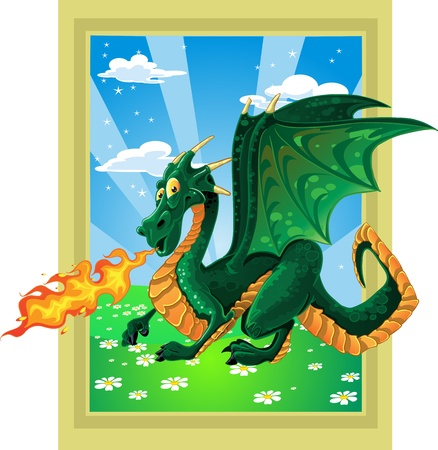 fabulous magical green fire-spitting dragon on fairytale landscape Vector