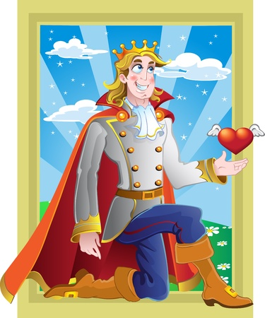 prince charming: prince charming ask princess hand in marriage on fairytale landscape Illustration